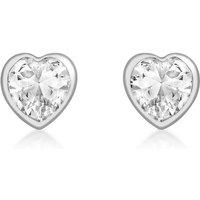 9ct White Gold CZ Heart Stud Earrings