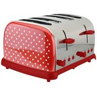KitchenOriginals by Kalorik Red Polka Dot 4-Slice Toaster