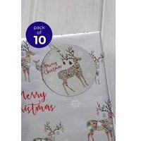 10 Festive Reindeer Gift Foil Tags