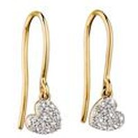 9ct Gold Swinging Diamond Heart Earrings