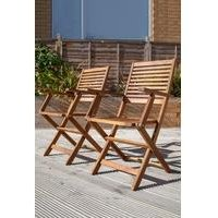 Wooden Acacia Pair of Outdoor Dining Foldable Armchairs