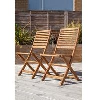 Wooden Acacia Pair of Foldable Dining Chairs