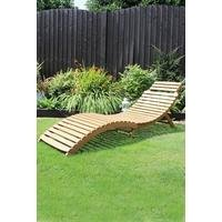 Wooden Acacia Large Folding Curved Reclining Sun Lounger