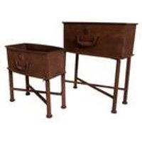 Set of 2 Rust Effect Suitcase Planters