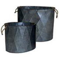 Set of 2 Aged Zinc Effect Planters