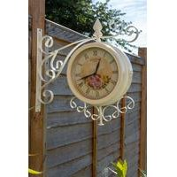 Vintage 37cm Double Sided Metal Bracket Wall Clock
