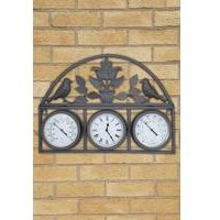 Shabby Chic Wall Clock with Thermometer and Hygrometer