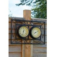 Ornate Metal Wall Mounted Frame Clock and Thermometer