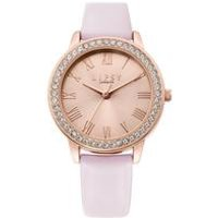 Lipsy Pink Strap Watch with Pale Rose Gold Dial