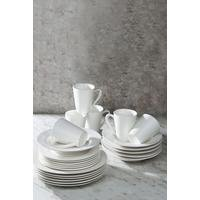 24-Piece Embossed Circles White Dinner Set