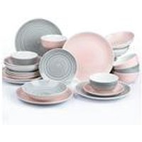 24-Piece Grey and Pink Spinwash Dinner Set