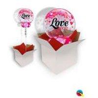 Love You Confetti Hearts Bubble Balloon