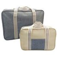 Set Of 2 Cooler Bag Set Grey Stripe