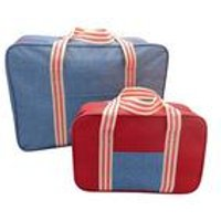 Set Of 2 Cooler Bag Set Denim Stripe