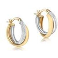 9ct 2-Tone Gold Diamond Cut Crossover 15mm Creole Earrings