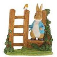 Peter Rabbit on Wooden Stile Figurine
