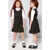 Girls Pack of 2 Black Pinafores