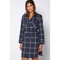 Be You Long Sleeve Belted Check Dress