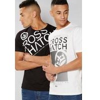 Crosshatch Pack of 2 T-Shirts - Black/ White