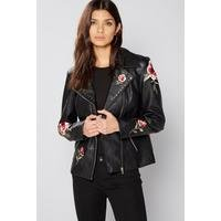 Be You PU Embroidered Biker Jacket