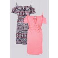 Be You Pack Of 2 Aztec Print Cold Shoulder Dresses