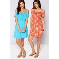 Be You Pack Of 2 Floral Print Cold Shoulder Dresses
