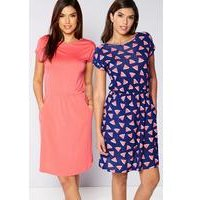 Be You Pack Of 2 Watermelon Print Jersey Dresses