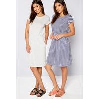 Be You Pack Of 2 Navy Stripe Jersey Dresses
