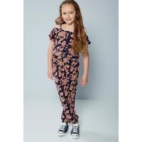 Older Girls Cold Shoulder Floral Printed Jumpsuit