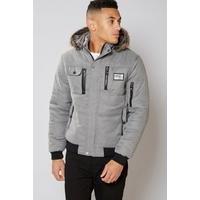 D Rock Faux Fur Hooded Jacket