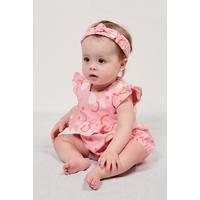 Baby Girls Romper With Pink Headband