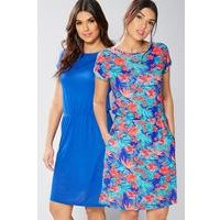 Pack Of 2 Jersey Dresses - Mint Floral/Navy