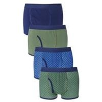 Pack of 4 Blue/Green Keyhole Boxers