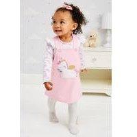 Baby Girls Unicorn 2-Piece Pinafore and Bodysuit Set