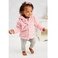 Baby Girls Leopard Print Silky Fleece Jacket