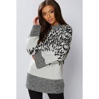 Be You Jacquard Grey Animal Wide Sleeve Tunic Jumper