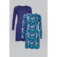 Be You Pack of 2 Navy/Teal Floral Swing Dresses