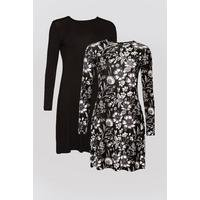 Be You Pack of 2 Black/Mono Swing Dresses