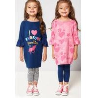 Younger Girls Hearts and Unicorn Pack of 2 Dresses