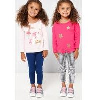 Younger Girls Unicorn and Glitter Stars Pack of 2 Tops