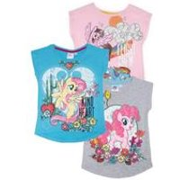 Girls Pack Of 3 My Little Pony T-Shirts