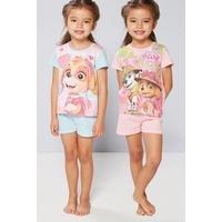 Young Girls Pack Of 2 Paw Patrol Shortie Pyjamas