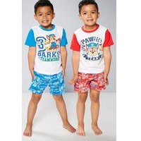 Young Boys Pack Of 2 Paw Patrol Shortie Pyjamas
