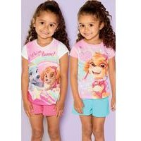 Young Girls Pack Of 2 Paw Patrol Short and T-Shirt Sets