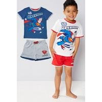 Young Boys Pack Of 2 Superman T-Shirt and Short Sets