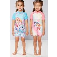 Young Girls Pack Of 2 Paw Patrol Pups Rule UV Swimsuits