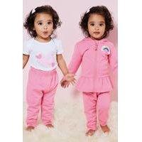 Baby Girls 3-Piece Rainbow Heart Jog Set and Body Suit