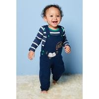 Baby Boys 2-Piece Cheeky Monkey Dungarees and Body Suit Set