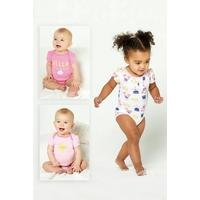 Baby Girls Pack of 3 Hello Sunshine Bodysuits