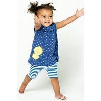 Baby Girls Two Piece Woven Chick Top and Stripe Shorts Set